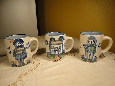 M A Hadley (3) 4 Inch Mugs WIFE, HOUSE, FARMER Stoneware The End Louisville, KY