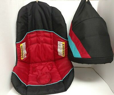 Baby Trend Range infant Car Seat Black/Blue and Red Fabric Cover cushion pad.