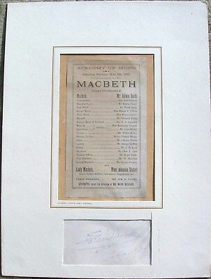 Edwin Booth Autograph Dated 1886 With Vintage Macbeth Handbill Matted To 11 X15