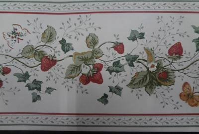 Strawberries on Vine wallpapr Border with butterflies