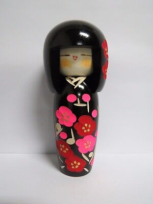 Original Japanese Wood Kokeshi Doll in Black Kimono with Pink and Red Flowers