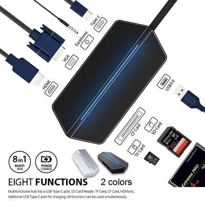 8-in-1 USB C Hub HDMI 4K+USB 3.0+Type C Data Transmit/Charging+TF/SD Card Reader