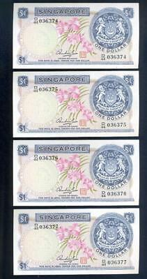 4 Consecutive Singapore Orchard One Dollar Banknotes - UNC