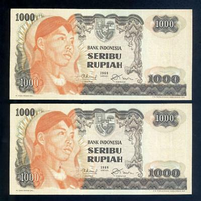 Consecutive Pair of 1968 Indonesia 1000 Rupiah Banknotes - UNC