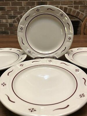 "4 Longaberger Bread & Butter Or Dessert Plate Woven Traditions Red 7 1/4"" Unused"
