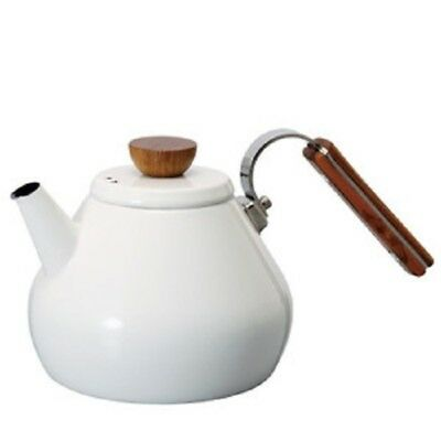 W/tra JAPANESE Enamel Tea Kettle HARIO BONA 800ml BTK-80-W Pot White