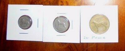 3 Ireland pence Coins- 3d Hare, 6d Irish Wolfhound+ 20 pence Irish Hunting Horse