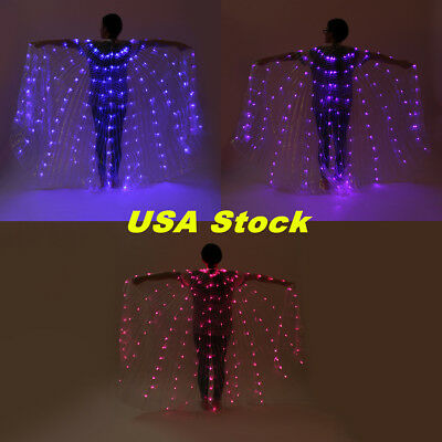 US! Rechargeable LED isis Wings Light Up Belly Dance Club Costumes Sticks Bag