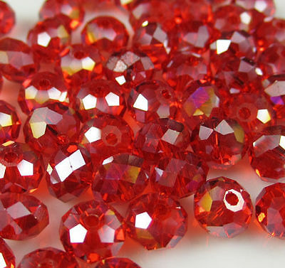 Jewelry Faceted 70 pcs 6*8mm Red AB  Roundelle Crystal Beads DIY!