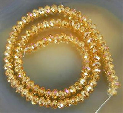 Jewelry Faceted 70pcs 6*8m Yellow Rainbow AB Roundelle Crystal Beads DIY!