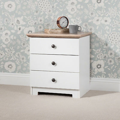 Laura James 3 Drawer Bedside Tables in white