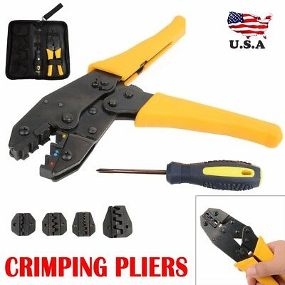 New Insulated Cable Crimper Tool Kit Wire Terminal Ratchet Plier Crimping Set US