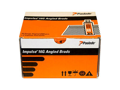 PASLODE 16G Electro Galv Angled Brad Nails For IM65A 38mm (2000pcs + 2 x Fuel )