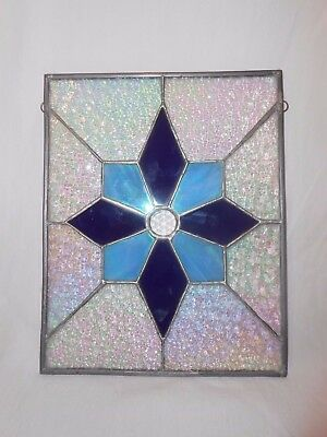 Winter Stained Glass Star Snowflake Window Hanging Suncatcher Blue Opalescent