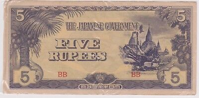 (N10-45) 1940s Japan 5 Rupees invasion bank note (AT)