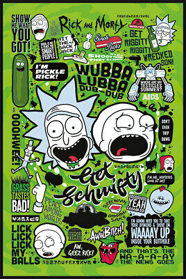 Rick And Morty - Tv Show Poster / Print (Infographic - Quotes & Pictograms)