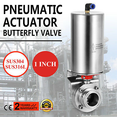 "1"" Tri Sanitary Butterfly Valve Pneumatic Actuator Sus316L Sus304 Single-Acting"