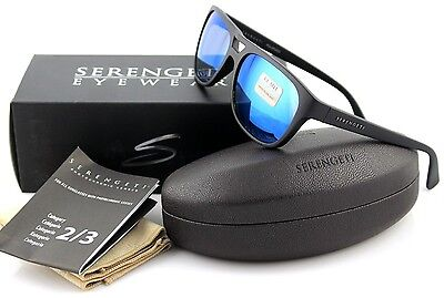 e4bc27442629 POLARIZED NEW Genuine SERENGETI TOMMASO Satin Black 555 NM Blue Sunglasses  8283