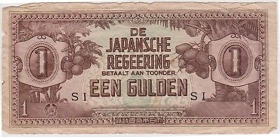 (N10-34) 1940s Japan 1 Gulden invasion bank note (AI)