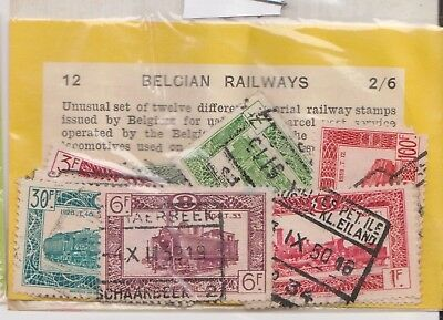 (V6-69) 1948 Belgium old stamps pack 12stamps railway (BO)