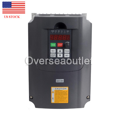 US New Universal 5.5KW 220V Variable Frequency Drive Inverter VFD 7.6HP 25A Fast