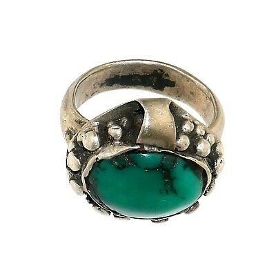 (1859)Rare Antique Saudi Arabia silver and turquoise ring.