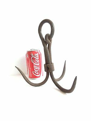 Аntique WROUGHT IRON Blacksmith Made Primitive GRAPPLING HOOK 3 Prongs TRIDENT