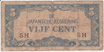 (N10-9) 1940s Japan 5c invasion bank note (tatty) (I)
