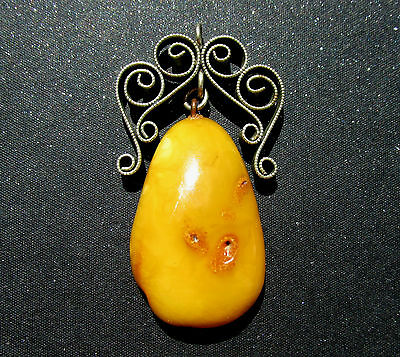 Genuine Antique Butterscotch Egg Yolk Baltic Amber Pendant 9g.