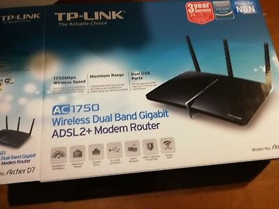 TP-Link Archer D7 Wireless AC1750 Dual Band ADSL2+ Gigabit Modem Router