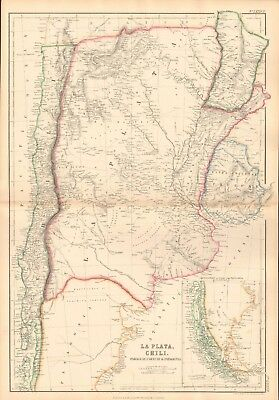 1859  Large Antique Map - Bartholomew- La Plata, Chile, Paraguay, Uruguay, Patag