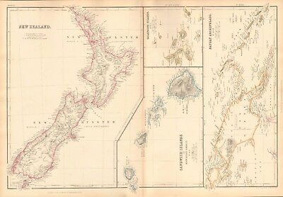 1859  Large Antique Map - Bartholomew - New Zealand,galapagos,papua,sandwich