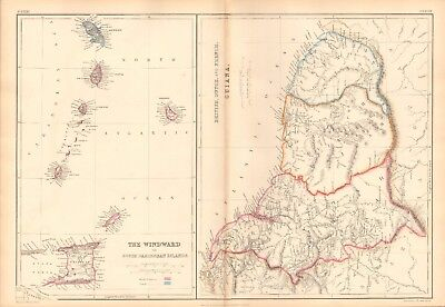 1859  Large Antique Map - Lowry-Windward Islands,british,dutch & French Guiana