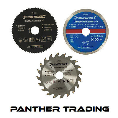 Silverline 85mm Saw Blade Set Cuts Wood, Plastic & Tiles & Bore Reduction Rings