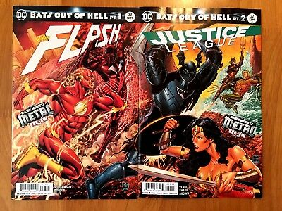 Flash #33 Justice League 32 Connecting Covers Dark Metal Tie In DC Comic 2017 NM