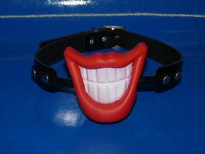 sale BIG SMILE LIPS real black leather BALL GAG novelty ballgag bondage fetish