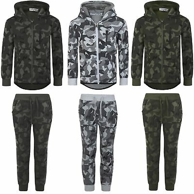 Kids Tracksuit Geometric Camo Print Boys Hood Top Jogging Bottoms Sizes 3-14 Y