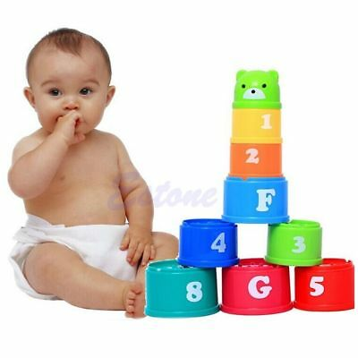 Kids Baby Children Figures Letters Folding Cup Pagoda Stack Educational Toy 1Set
