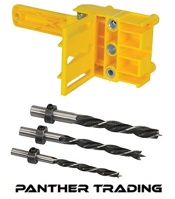 Silverline Dowelling Jig with Carpenters 3 Piece Dowel Drill Set - 6 / 8 / 10mm