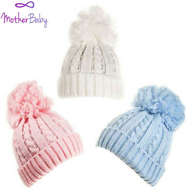 Baby Boys Girls Winter Knitted Wooly Ski Hat Fur Bobble Pom Pink White Blue 0-12