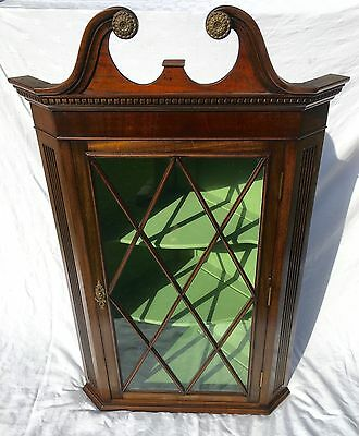 Antique Style Reproduction Inlaid Mahogany Astragal Glazed Corner Cupboard (24)