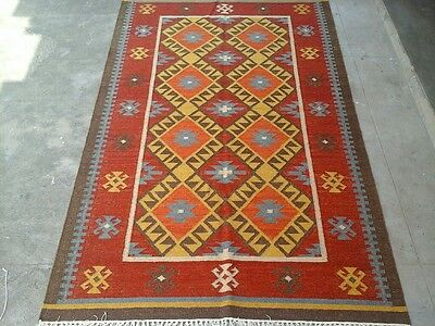 Authentic Hand Woven Afghan Kilim Rug 8'x5' Antique Style Red Wool Carpet