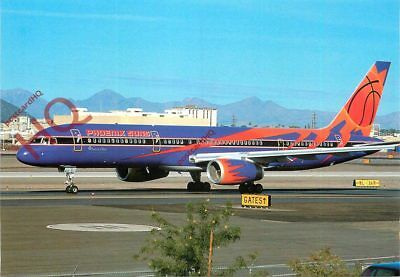 Picture Postcard~ AMERICA WEST PHOENIX SUNS LIVERY BOEING 757-225 N907AW [WCC]
