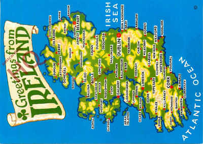 Picture Postcard, Greetings From Ireland, Map