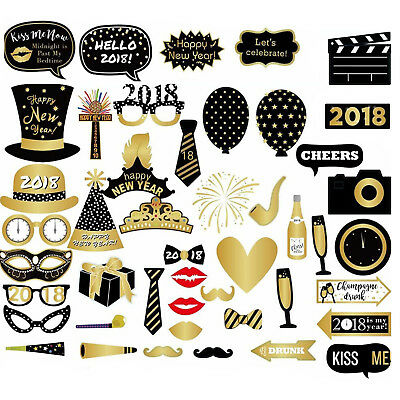 New Years Eve 2018 Party Photo Booth Props Fun DIY Selfie Photography Kit -46pcs