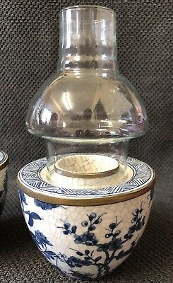 Vintage Oriental Crackle Glazed Candle Holder Pair With Glass Top