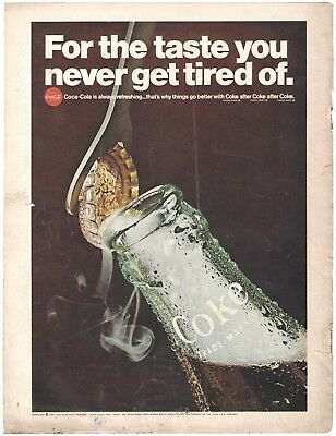 1967 Coca Cola - For The Taste You Never Get Tired Of - Vintage Print Ad