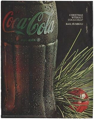 1966 Christmas Without Coca Cola Bah Humbugh! Original Vintage Print Ad