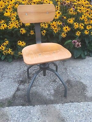 Vintage 1990s Bevco Square Stool Office Desk Chair Seat Adjustable Height