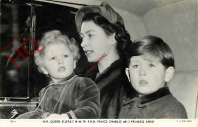 Postcard- QUEEN ELIZABETH II, WITH PRINCE CHARLES AND PRINCESS ANNE [TUCK'S]